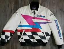 Vintage Polaris Racing White Leather Snowmobile Jacket Coat Mens Size Medium
