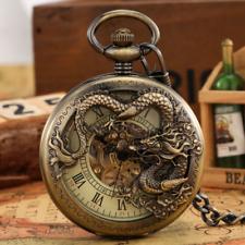 Vintage Vazada Dragão Unissex handwind Mecânica Relógio De Bolso Presente cadeia Fob