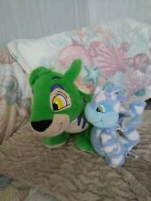 2 Neopets: Green Kougra 2008 and Blue Scorchio Dragon 2004