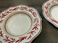 """Set of 2 Large Rim Soup Bowl Town & Country Fitz & Floyd RED LEAF BORDER  9 5/8"""""""