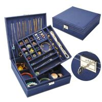 Princess Display Capacity Double-tier Jewelry Make up Box Storage Case Organizer