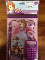 disney sophia the first 7 pc calculator set notebooks, pencils, eraser,sharpener