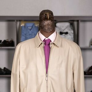 Great $4750 BRIONI Reversible Leather Jacket Beige/White 48US/58IT
