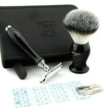 Shaving Gift Kit for Him Safety Razor Blades & Synthetic Brush + Travel Case