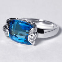 Natural London Blue Topaz Diamond Womens Solitaire Ring Solid 14K White Gold