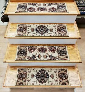 "Ivory Stair Tread Set of 13 Traditional Non Slip Carpet Treads 27""x9"" Rug Depot"