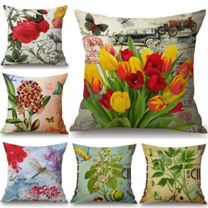 Retro Vintage Flower Cushion Cover Pillow Case Cotton Linen Sofa Car Home Decor