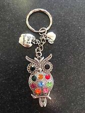 WISE OWL KEY RING WITH NO 1 TEACHER CHARM THANK YOU PRESENT IN GIFT BAG