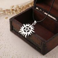 1pc Fashion Supernatural Pentagram Hide Sun Shape Rope Silver Pendant Necklace#