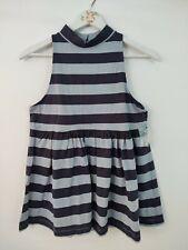 New Free People Women's Blouse Size XSM Baby Doll Blue Striped Sleeveless