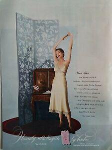 1949 Womens Heavenly silk lingerie by Fischer beige slip vintage ad