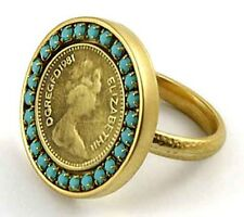 Elizabeth II Coin Ring Gold Plated 24k Ring Set With Turquoise Size 8
