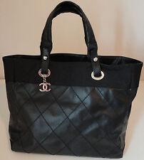 CHANEL Paris Biarritz Tote MM Handbag Black Silver Hardware
