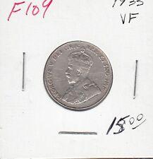 F109 CANADA 5 CENTS 5c COIN 1933 - VERY FINE - CHARLTON $15.00