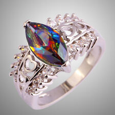 Engagement Marquise Cut Rainbow Topaz Gemstone Silver Charming Ring Size 9 Gifts