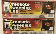 TWO (2) CREOSOTE SWEEPING LOG  Treats Cleans Build-up Fireplaces Stoves #774