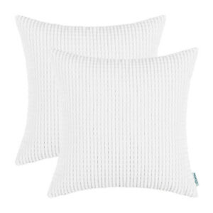 "2Pcs True White Throw Pillows Cover Shell Case Corn Soft Corduroy Striped 24x24"""