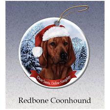 Coonhound Redbone Howliday Porcelain China Dog Christmas Ornament