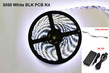 Black PCB 12V 5M SMD White 5050 Waterproof 300 LED Strip Light  Power Supply kit
