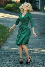 Christmas Party HELL BUNNY War WW2 Vintage 40s DRESS Emerald Green Satin 8 XS