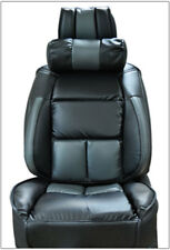 UNIVERSAL LIMOUSINE BLACK/CHARCOAL S.LEATHER FRONT ONE SEAT COVER & NECK CUSHION