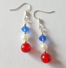 New Handmade GB Red White Blue Glass Round Silver Beaded Dangle Drop Earrings UK