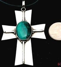 PRIVATE COLLECTION~LARGE~STERLING SILVER~SC~SILVER~MALACHITE~CROSS~PENDANT~