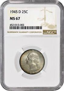 1945 D 25C Silver Washington Quarter NGC MS67 Gem Uncirculated Coin