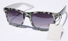 WHITE Leopard Vintage Retro SUNGLASSES black gradient lens UV400