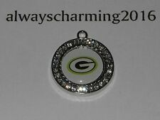 """GREENBAY PACKERS INSPIRED 15/16"""" RHINESTONE CHARMS FOR JEWELRY NECKLACE BRACELET"""