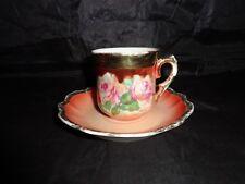 Antique Vintage Bavaria Sm Cup & Saucer, Demitasse, Floral Pattern Pink/Burgundy