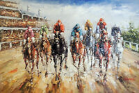 Horse Race Track Thoroughbred County Fair 24X36 Oil Painting On Canvas STRETCHED