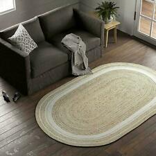 Rug oval 100% Natural Jute Handmade Rustic look Rug Braided style Reversible Rug