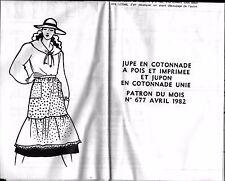 ▬► PATRON Couture Modes et Travaux Jupe et Jupon en cotonnade Avril 1982