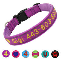 Personalised Embroidered Pet Dog Name ID Collar Plush Padded Reflective Phone