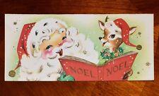 Vintage UNUSED Christmas Greeting Card SANTA Claus MCM Reindeer DEER SINGING
