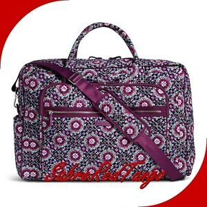 NWT VERA BRADLEY QUILTED ICONIC GRAND WEEKENDER TRAVEL BAG LILAC MEDALLION