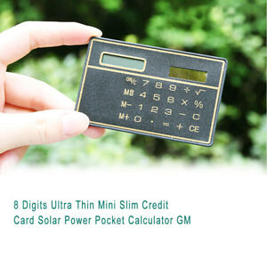 8 Digits Ultra Thin Mini Slim Credit Card Solar Power Pocket Calculator Gadget 1