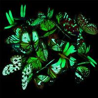 50Pcs Lawn Ornaments Fairy Garden Luminous Butterfly Decor Outdoor Yard
