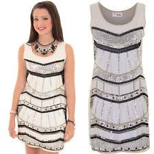 Ladies Lined Sequin Beaded Aztec Stripe Women's Tunic Straight Short Dress 8-14