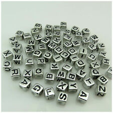 100PCS 7MM Silver Mixed Alphabet Letter Acrylic Cube BEADS For Jewellery Making