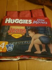 25 pack (25 Individual Diapers) Rare Huggies Jean Diapers Limited Edition Size 4