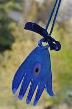 Turkish Small Hanging FATMA'S HAND HAMSA EVIL EYE Amulet Lucky Bead Blue Ribbon