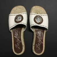 Brighton Slip On Sandals Shoes White Leather Silver Metal Womens 6 M Italy