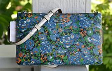 NWT Authentic Coach Lyla Blue Rose Floral Meadow PVC Crossbody Clutch Bag 57922