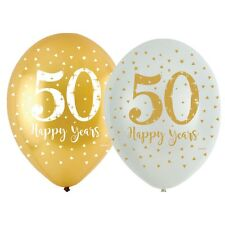6 x Golden Wedding Balloons Party Decoration Sparkling 50th Anniversary