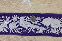 Antique Chinese 19thC Hand Embroidered Bird & Floral Silk Trim c1880