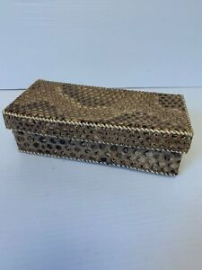 Genuine Real Anaconda Snake Skin Leather Decorative Box, Vintage