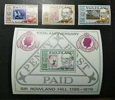 SELLOS SUAZILANDIA MNH 1979 CENTENARIO MUERTE SIR ROWLAND HILL + MINISHEET