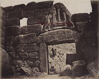 Grecia Mycenae La Porta Lions Vintage Albumina Ca 1875